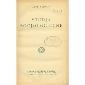 KRZYWICKI Ludwik, Studja socjologiczne.